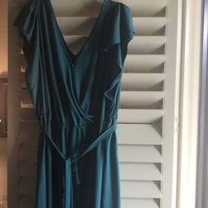 Teal Dress with flutter sleeve